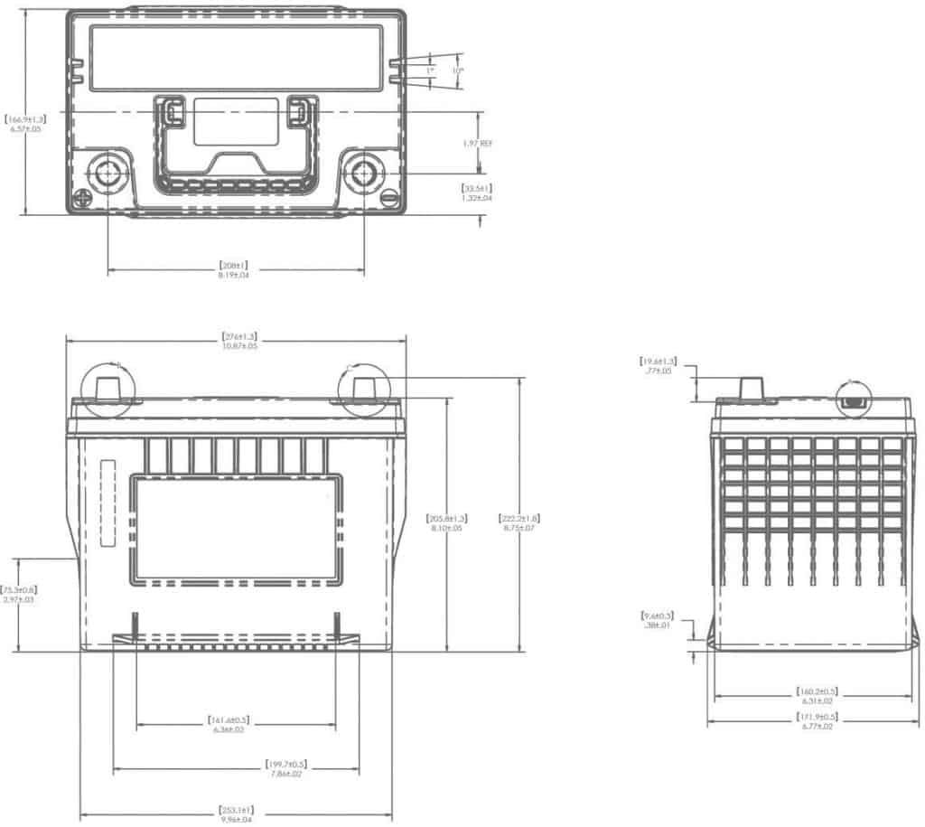 AGM24 Battery Technical Drawing